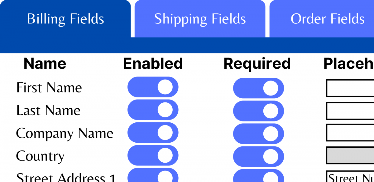 checkout fields editor